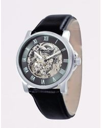 Kenneth Cole Mens Skeleton Dial Automatic Watch With Black Leather Strap - Lyst