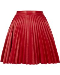 Topshop Leather Look Pleat Skirt By Love red - Lyst