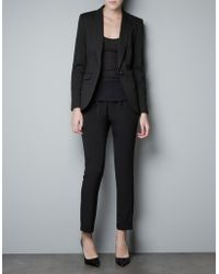 Zara Ponte Di Roma Blazer with Elbow Patches - Lyst