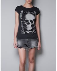 Zara Tshirt with Skull - Lyst