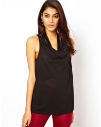 ASOS Collection Asos Top with Cowl Neck and Pu Trim - Lyst