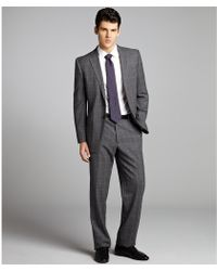Joseph Abboud Grey Windowpane Check Wool 2button Suit with Flat Front Pants - Lyst