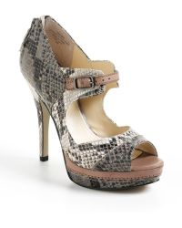 Enzo Angiolini - Sling Snake Embossed Leather Court Shoes - Lyst