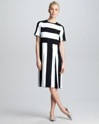 Marc Jacobs Striped Pleated Dress - Lyst