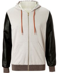 Marc Jacobs  Hoodie with Leather Sleeves - Lyst