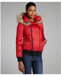SOIA & KYO Red Cotton-Blend Maureen Fur Trimmed Hooded Down Jacket - Lyst