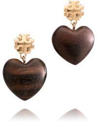 Tory Burch - Wooden Heart Dangle Earrings - Lyst