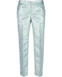 Tory Burch Metallic Paisley Print Trouser - Lyst
