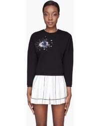3.1 Phillip Lim Black Eye Crystal Gem Embroidered Sweat Top - Lyst