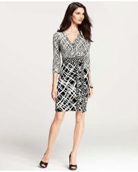 Ann Taylor Mixed Print Three Quarter Sleeve Wrap Dress - Lyst