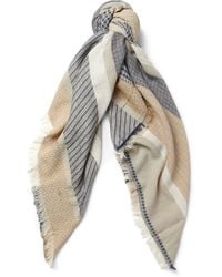 Balmain Jacquard Cotton and Linenblend Scarf - Lyst