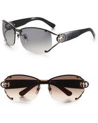 Gucci Open Temple Oval Sunglasses - Lyst