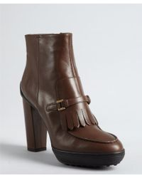 Tod's Cigar Leather Fringed Buckle Strapped Platform Ankle Boots - Lyst