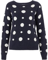 Topshop Knitted Spot Sweat - Lyst
