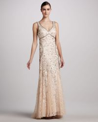 Sue Wong Sleeveless Beaded Gown - Lyst
