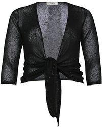 Ann Harvey   Black Sequin Tie Front Cardi   Lyst