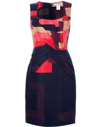 Oscar de la Renta Pleated Geometric Print Dress - Lyst