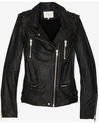 IRO Perforated Leather Jacket black - Lyst