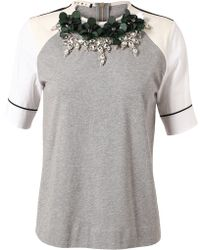 Marni Embellished Cotton Tshirt - Lyst