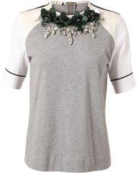 Marni Embellished Cotton Tshirt gray - Lyst