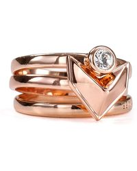 Rebecca Minkoff - Stackable Heart Rings Set Of 3 - Lyst