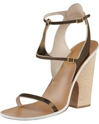 Chloé Metallic Leather Anklewrap Sanda - Lyst