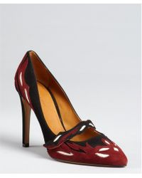 Isabel Marant Black And Maroon Suede 'Kylie' Mary Jane Pumps - Lyst