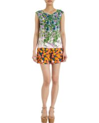 Marc Jacobs Sleeveless Floral Shirt - Lyst