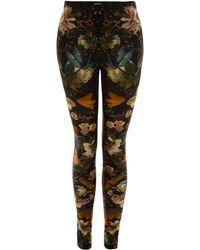 Alexander McQueen Black Floral Dragonfly Print Leggings multicolor - Lyst