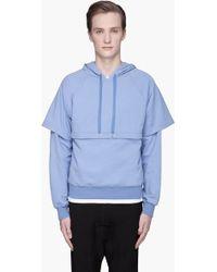Kris Van Assche - Light Blue Doublesleeved Hooded Kangaroo Sweater - Lyst