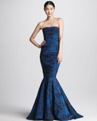Vera Wang Printed Strapless Ruched Mermaid Gown - Lyst