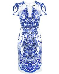 Roberto Cavalli Cutout Floral Dress - Lyst
