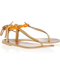 See By Chloé Raffia Trimmed Leather Sandals - Lyst