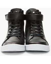 Adidas SLVR - Black Hightop Textile and Leather Cupsole Sneakers - Lyst