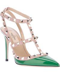 Valentino Studded Strappy Sandal green - Lyst