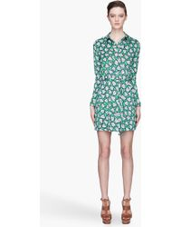 Diane Von Furstenberg Green and Blue Leanna Silk Dress - Lyst