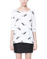 Zara Velour Sweater white - Lyst