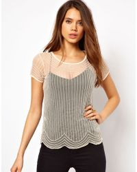 Tfnc Sheer T Shirt with Embellishment - Lyst