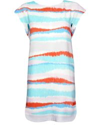 Cacharel Blue Print Cap Sleeve Dress multicolor - Lyst
