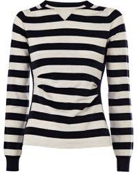 Karen Millen Sporty Stripe Knit Sweater - Lyst