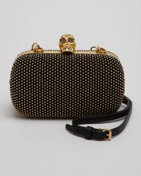 Alexander McQueen Studded Suede Skull Box Clutch Bag - Lyst