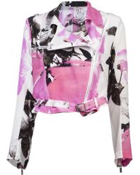 Christopher Kane Printed Silk Biker Jacket - Lyst