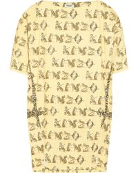 Kenzo Tiger Print Stretch-cotton Twill Dress yellow - Lyst