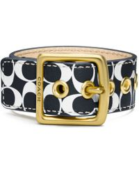 Coach Signature C Leather Buckle Bracelet - Lyst