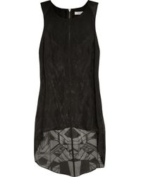 Helmut Lang Spider Semisheer Silk and Leather Top - Lyst