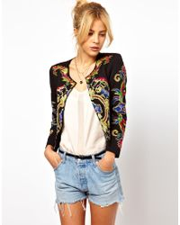 Asos Jacket with Floral Embroidery black - Lyst