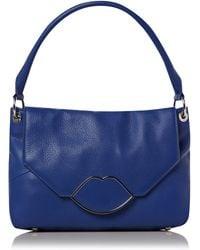 Lulu Guinness Lips Hardware Hobo Bag blue - Lyst