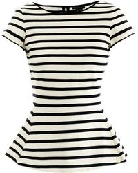 Theory Panna Stripe Peplum Top - Lyst