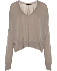 Alexander Wang Cropped Fine-knit Wool Sweater - Lyst
