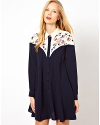 ASOS Collection Shirt Dress with Colour Block Panels and Embroidery - Lyst